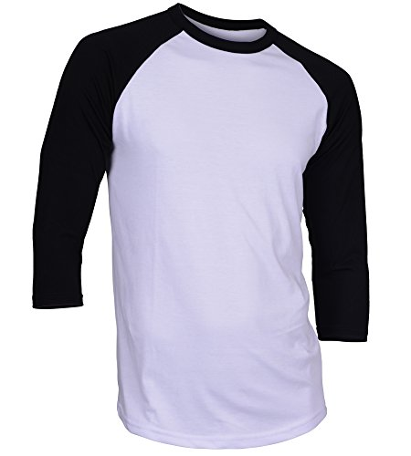 DREAM USA Men's Casual 3/4 Sleeve Baseball Tshirt Raglan Jersey Shirt White/Black Large