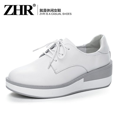 Haihai Au Occasionnelles chaussures Chaussures cales forme Plate De Épais cuir A Blanc Womens style Femme Korean Printemps chaussures rUrnxq6Zw