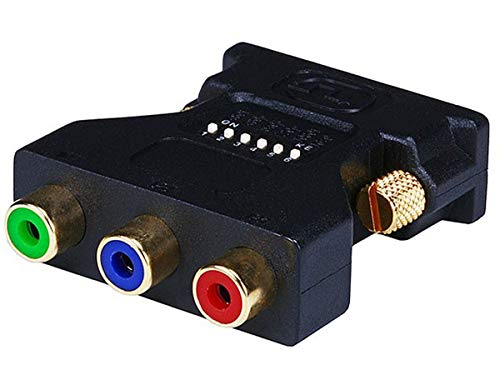 Monoprice DVI-I Male to 3 RCA Component Adapter w/ DIP Switch for ATI Video Cards (Gold Plated)