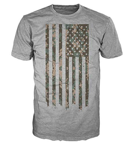 - 5 Star USA Shirt America Men's Graphic T-Shirt - American Flag, Patriotic, Vintage, Military, Regular, Big and Tall Sizes (Camo Us Flag/Heather Grey, XX-Large)