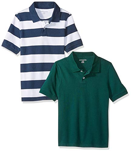 (Amazon Essentials Big Boys' 2-Pack Uniform Pique Polo, Navy/White Rugby, L)
