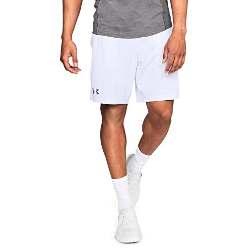 Under Armour mens MK1 Shorts, White (100)/Graphite, Medium