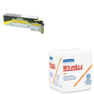 KITEVEEN91KIM05701 - Value Kit - KIMBERLY CLARK WYPALL L40 Cloth-Like 1/4-Fold Wipers (KIM05701) and Energizer Industrial Alkaline Batteries (EVEEN91)