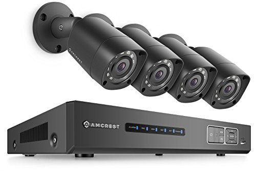 Amcrest UltraHD 4MP 8CH Video Security System - Four 4MP Weatherproof IP67 Bullet Cameras, 98ft IR LED Night Vision, Hard Drive Not Included, HD Over Analog/BNC, Smartphone View (Led Weatherproof Security System)