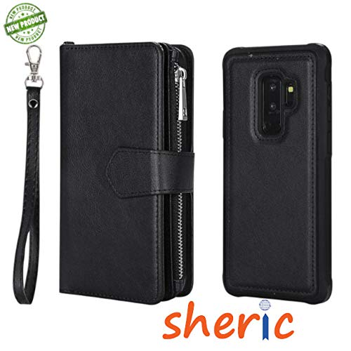 SHERIC Wallet Case for Samsung S9+ PU Leather flip case Cover, Kickstand Feature, with Wrist Strap and 6-Slots ID & Credit Cards Pocket, photo frame and Phone Back Case for Galaxy S9 Plus 6.2
