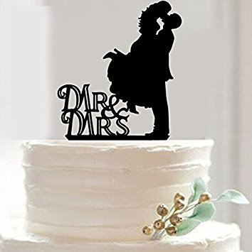 Bride Wedding Cake Topper (Mr & Mrs Bride and Groom Silhouette Wedding Cake Topper Pick COVERED WITH A PROTECTIVE LAYER WHICH SHOULD BE TORN OFF BEFORE USE(29 optional kinds of styles))