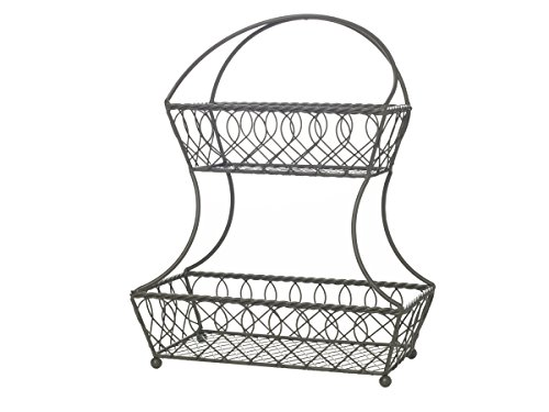 Gourmet Basics by Mikasa 5216830 Fruit Basket, Vinage Gray (3 Tiered Wire Basket)