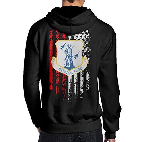 Men's US Air Force Air National Guard American Flag Hooded Sweatshirt Black
