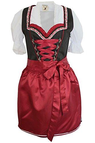 Alpenmärchen, 3tlg. Dirndl-Set - Trachtenkleid, Bluse, Schürze, Gr.32-60, schwarz-weinrot, ALM3054