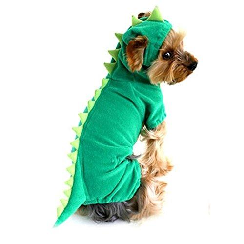 NACOCO Velvet Dinosaur Design Costume Dog Puppy Pet Clothes (Green, S) -