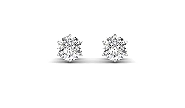 18K yellow-gold Round Brilliant Earring Studs 0.3 to 4 Carat Moissanite Stud Earrings Stud Earrings for Women perfect Jewelry Gifts for Women Teen Girls GH//VVS