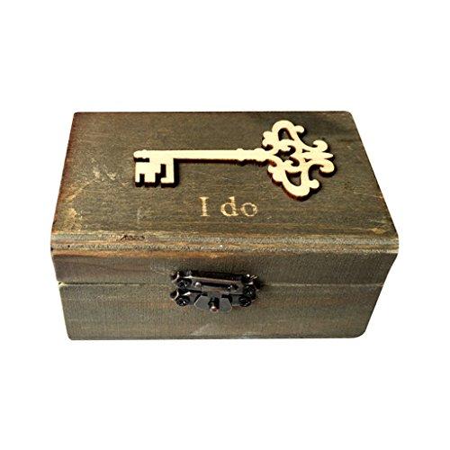 Jili Online I Do Key Pattern Country Style Romantic Jewelry Ring Bearer Box Wedding Favors Wooden Ring Pillow Box Holder Gift Box Craft ()
