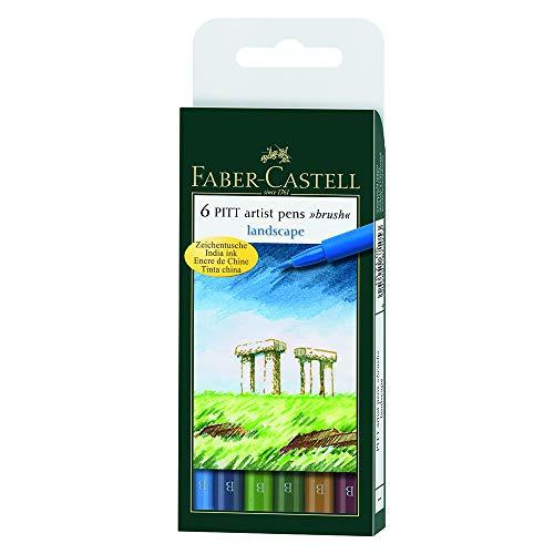 Faber-Castel FC167105 Pitt Artist Color Brush Wallet Set (6 Pack), Landscape, Assorted