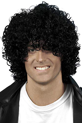Smiffys Men's Curly Black Wet Look Afro Wig, Jeri Curl, One Size, 5020570420324
