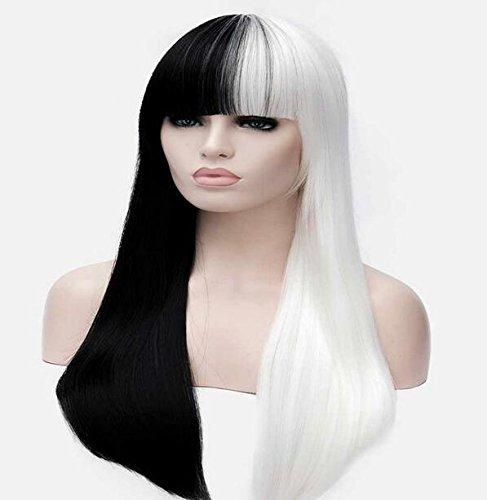 XUAN Fashion Long Straight Half White Half Black Full Women Cosplay Synthetic Wig