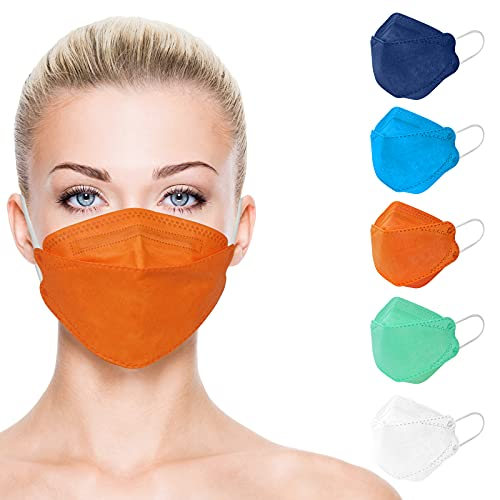 KF94 Face Mask Individually Wrapped, Disposable Colored Masks Adult Sized with Comfortable Fit, Adjustable Nose Wire Mask Easy Breathe Talk for Women Men, 4 Layers Protective Breathable Mask Non Fog - 20 Packs