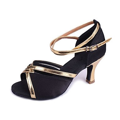 XIAMUO Angepasste Frau Satin & Pu-Dance Schuhe für Latein/Ballsaal Sandalen, Schwarz, EU/US7.5 38/UK5.5/CN 38