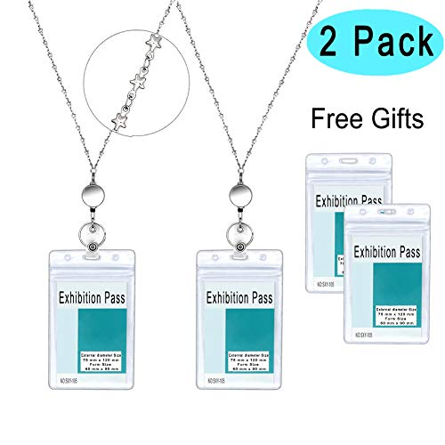 Retractable Badge Holder, Angela&Alex 2 Packs Badge Reel Lanyard with Holder for Women Heavy Duty Stainless Steel Necklace with Waterproof ID Name Badge Card -