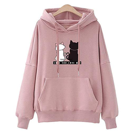 HULKAY Womens Hoodies Sweatshirt Winter Ladies Baggy Cat Jumper Pullover with Pocket(Pink,L) -