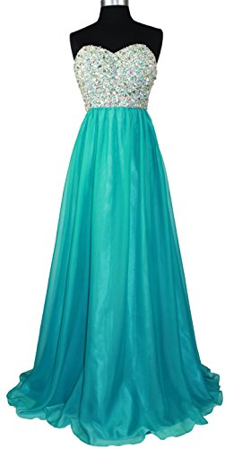 Meier Women's Strapless Beaded Bridesmaid Chiffon A-Line Gown in Jade Blue - Dresses Formal Jade