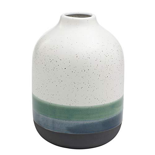 Rivet Westline Modern Indoor Outdoor Hand-Painted Stoneware Flower Vase - 9.5 Inch, Teal White Blue Black