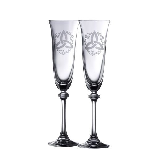 (Galway Crystal Trinity Knot Shamrock Liberty Flute (1 Pair), Clear)