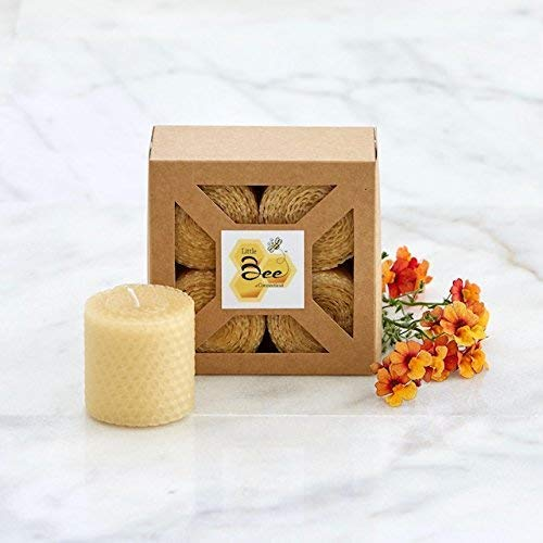 Hand-Rolled Beeswax Votive Candles 4pk - By Little Bee of CT, A Martha Stewart American Made Maker