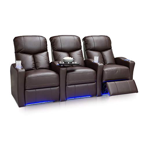 Seatcraft Raleigh Home Theater Seating Manual Recline Leather Gel (Row of 3, Brown) ()