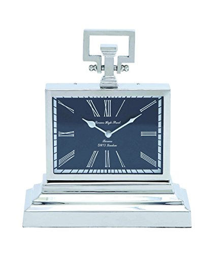 Square Chrome Plated Clock - Benzara Nickel Plated Table Clock with Three Tier Base