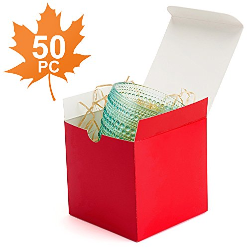 MESHA Gift Boxes 50 Pack 4x4x4 Inches, Red Paper Gift Boxes with Lids for Gifts, Crafting, Cupcake Boxes
