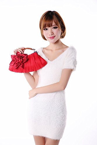 Ladies White Elegant Satin Clutch Bag Wedding Girls Party KAXIDY Purse Champagne Evening Flower dqHPBdUwR