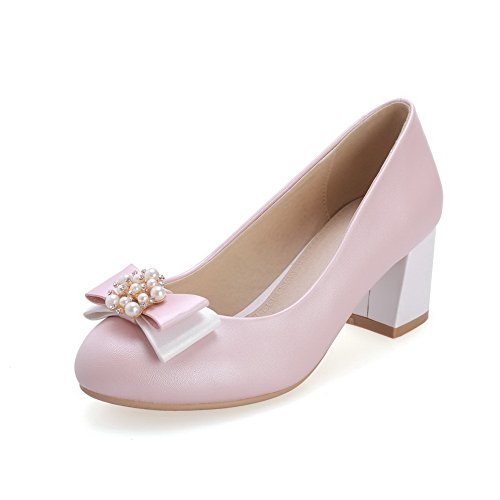 VogueZone009 Women's Round Closed Toe Kitten-Heels Soft Material Solid Pull-On Pumps-Shoes Pink