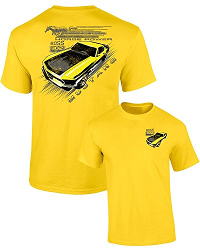 Ford Mustang Vintage Yellow Boss 302 Adult T-Shirt Front & Back, Neon Yellow, M