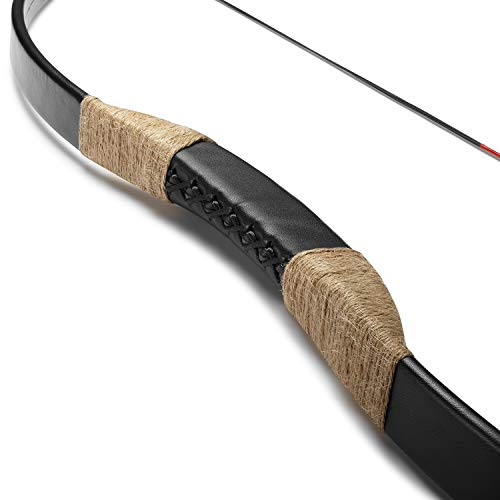 KAINOKAI Traditional Handmade Longbow Horsebow Hunting Recurve Archery Bow Recurve Bow Set (Black Warrior, 55.0 Pounds)