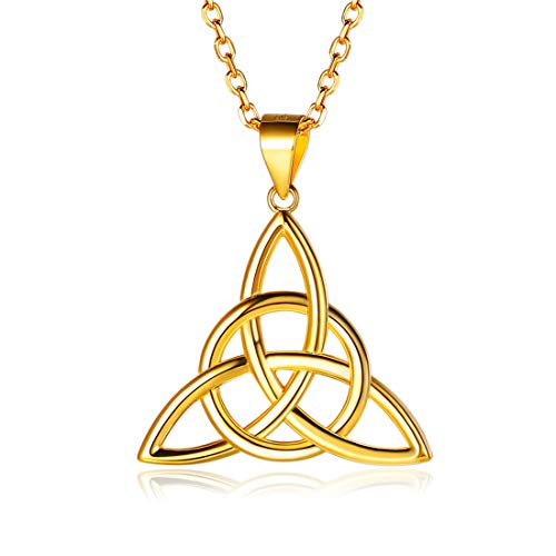 (ChicSilver 18K Gold Plated Sterling Silver Good Luck Irish Celtic Knot Triangle Vintage Pendant Necklaces, Rolo Chain 18