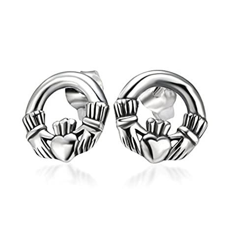 925 Sterling Silver Tiny Celtic Claddagh Friendship Love Symbol Stud Earrings - Celtic Love Symbol