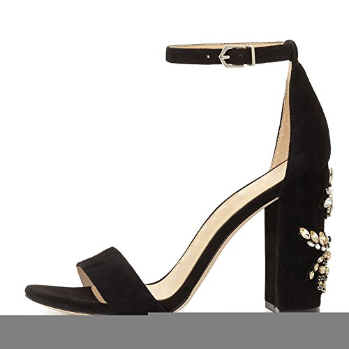 Womens Fashion Ankle Strap High Block Heeled Sandals Open Toe for Party Dress Black Rhinestone Pimzc