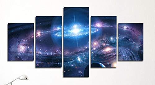 (MADEYU Oil Painting Five-Link Blue Universe Starry Sky Fluorescent Moon Painting Oil Painting, 30x50cmx2 30x70cmx2)