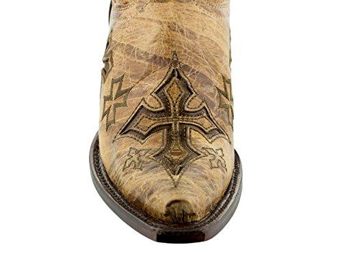 Cowboy Professionele Dames Kruis Overlay Lederen Rocker Cowboylaarzen Snip Teen Zand