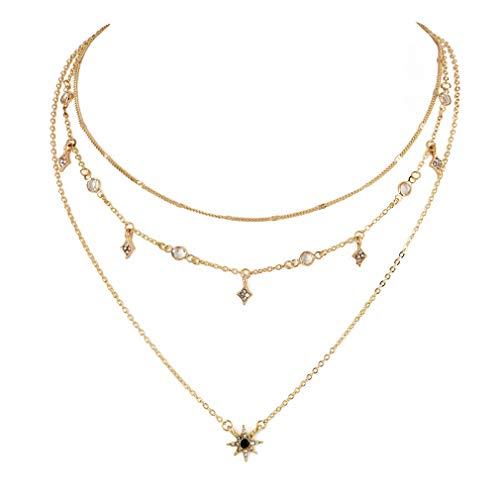 UINKE Multi-Layer Lucky Star Crystal Rhinestone Pendant Choker Necklace Charm Clavicle Chain Statement Jewelry for Women Girls