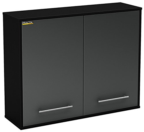 Wall Cabinet Black Storage - South Shore Karbon 2-Door Wall Mounted Storage Cabinet, Pure Black/Charcoal