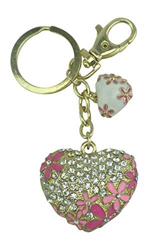 Pink Purse Enameled (Value Arts Bejewed Double Hearts Flowers Key Chain, 4.25