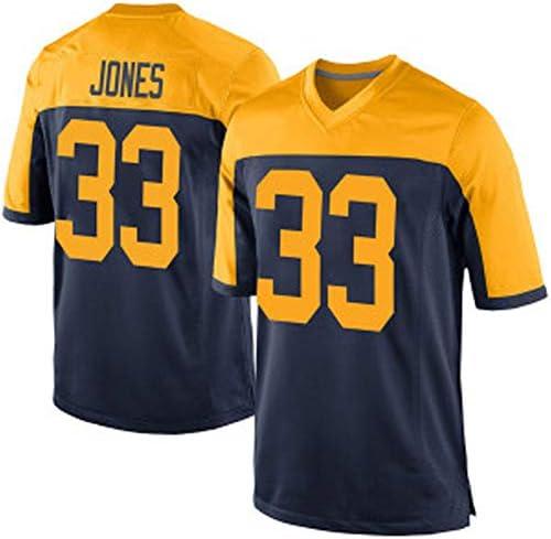 ラグビージャージーパッカーズジョーンズ33#男性用Tシャツスウェットシャツ、ストリートダンスパーティーヒップホップコンフォートメッシュ通
