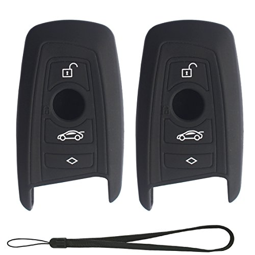 Velsman Car Smart Key FOB Silicone Case Cover Protector Holder Compatible with BMW Trapezoid Style Key and Wrist Strap - 3 Buttons - Please DOUBLE CHECK Your Key CONFIGURATION AND SHAPE (2-Pack Black) (Key Double Fob)