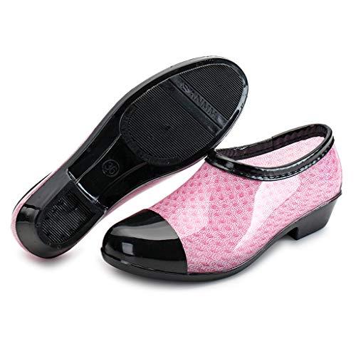 Peu À Pour Rond Bottes Sunnywill Bout Imperméables Pluie Rose Bouche De Chaussures La Loisirs Femmes Profonde 4YqwnOta