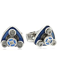 Tateossian Gear Trio Rhodium Blue Cuff Link