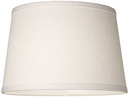 White-Linen-Drum-Lamp-Shade-10x12x8-Spider