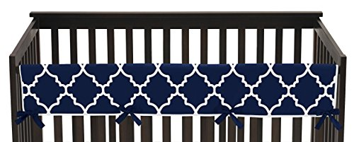 Navy Blue and White Modern Long Front Crib Rail Guard Baby Teething Cover Protector Wrap for Trellis Lattice Collection by Sweet Jojo (Lattice Rail)