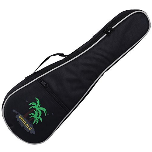 CAHAYA Ukulele Bag 21 inch Ukulele Case Soprano Oxford Fabric Thick Sponge Padded Adjustable Shoulder Strap with Coconut tree Pattern Style(Black)