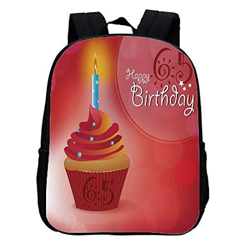 (65th Birthday Decorations Fashion Kindergarten Shoulder Bag,Sixty Five Artistic Sun and Stars Figures Cupcake Candle For Hiking,One_Size)